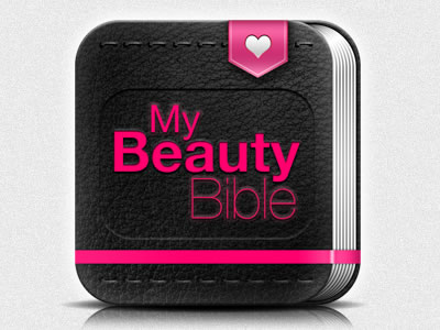 beauty bible website design icon leather texture