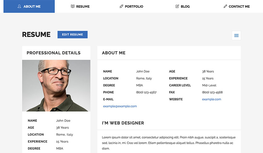 18+ Best HTML Resume Templates for Awesome Personal Websites (2018