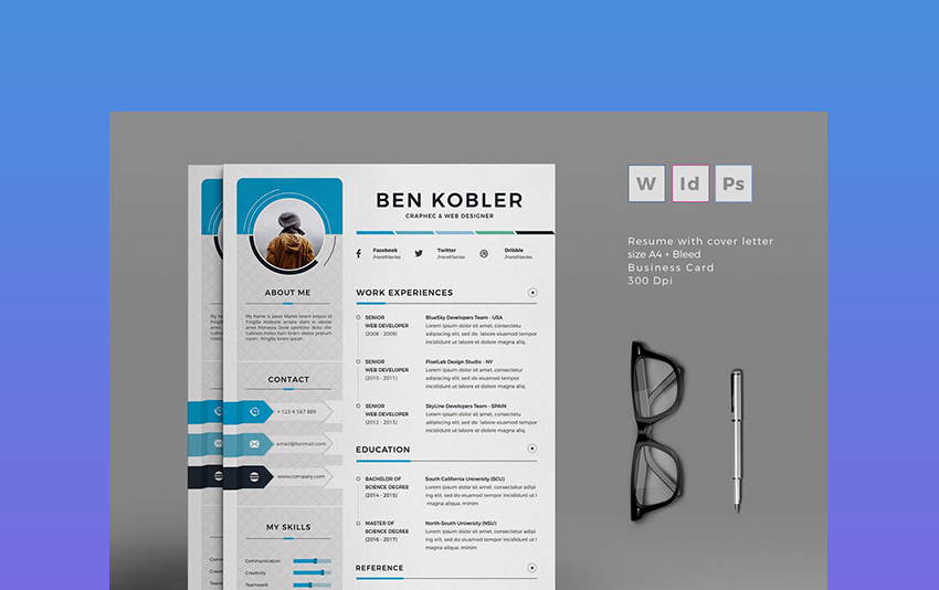 20+ Professional MS Word Resume Templates With Simple Designs For