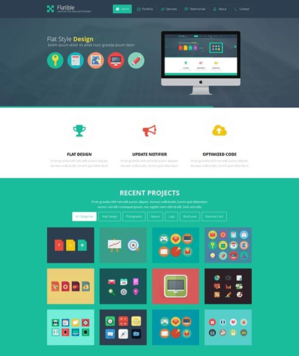 25 best flat design website templates