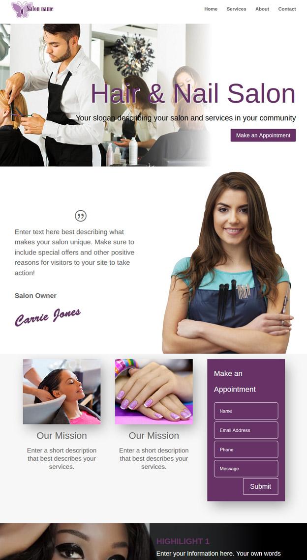 Websites for Hair Salon Professionals SEO Mobile Responsive Sites