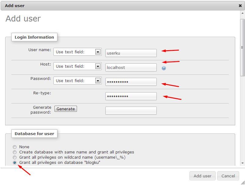 form tambah user di phpmyadmin xampp, membuat database xampp