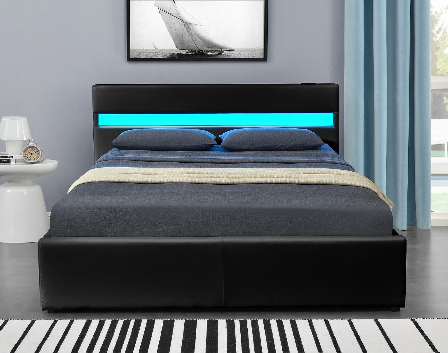 Black Double Bluetooth Music Led Ottoman Bed In Ol12