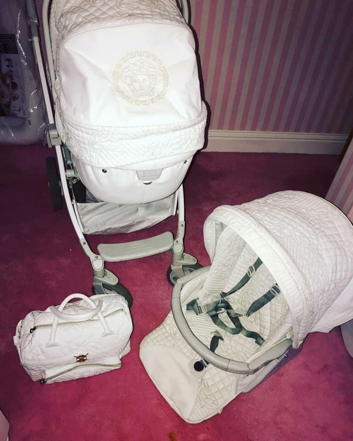 Young Versace Baby White Stroller And Travel Set Young Versace Travel Pram Set
