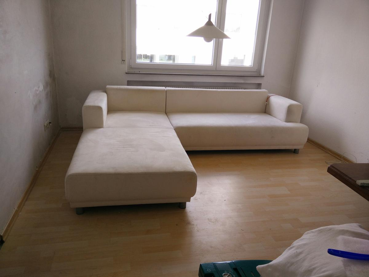 Sofa Veloursleder Eck-sofa, Kunst-veloursleder, Hell/creme In 70565 Stuttgart For €100.00 For Sale | Shpock