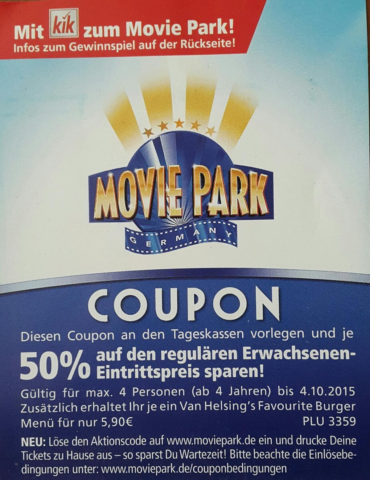 Moviepark Gutschein Gutschein 50 Movie Park