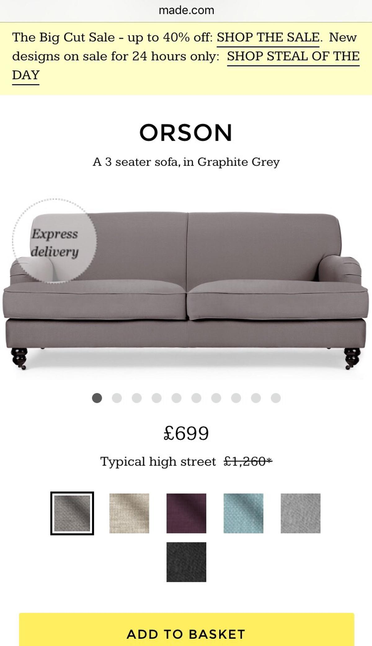 Made Sofa Shop Made Online Slate Grey Orson 3 Seater Sofa