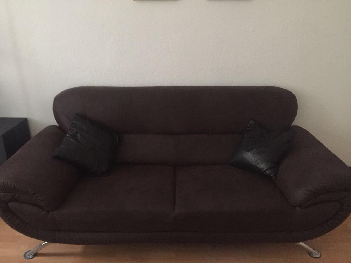 Sofa Veloursleder Neu Veloursleder-sofa Dunkelbraun + Sessel In 12459 Oberschöneweide For €450.00 For Sale | Shpock