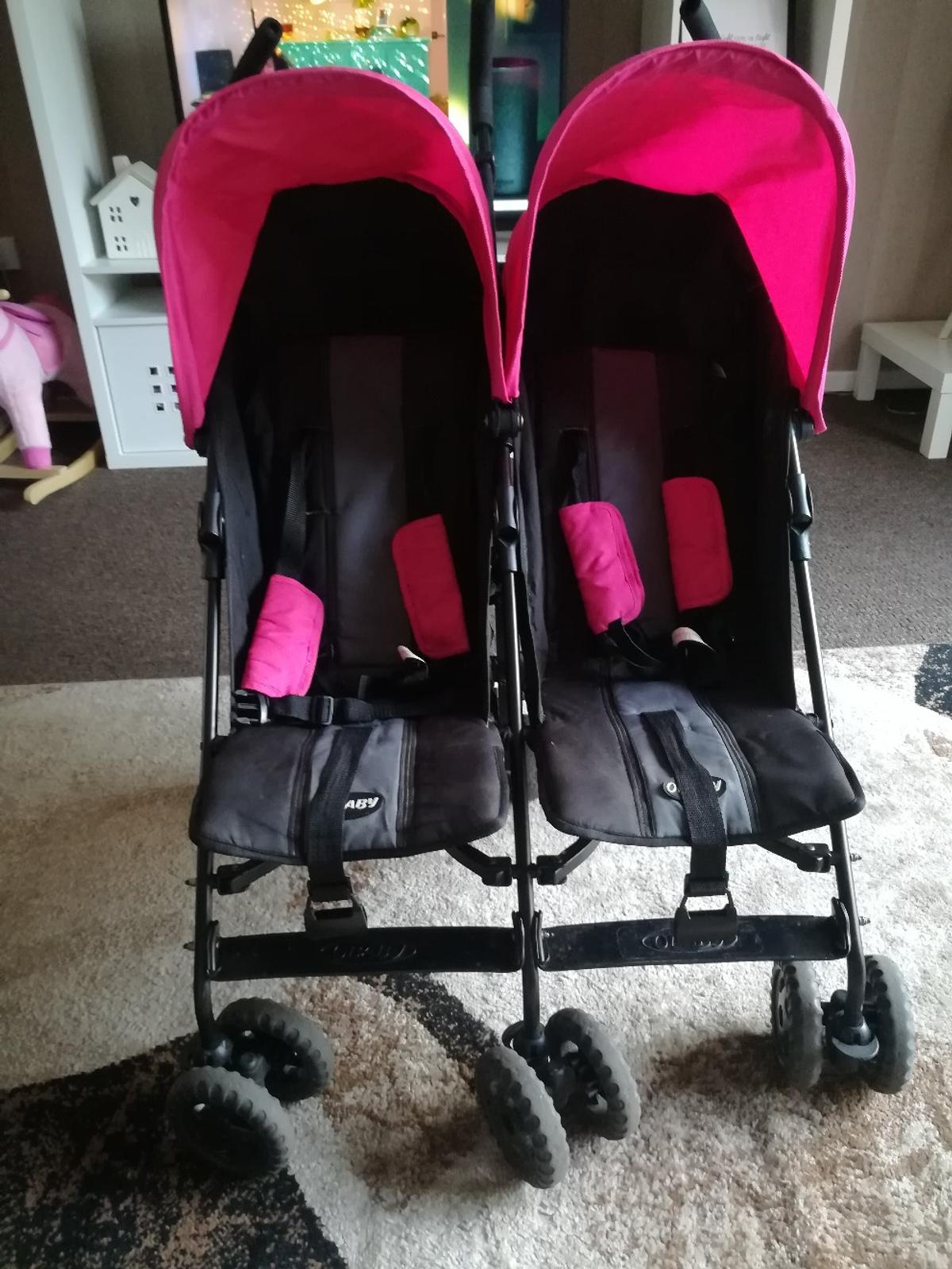 Double Stroller Rain Cover Obaby Pink Double Stroller