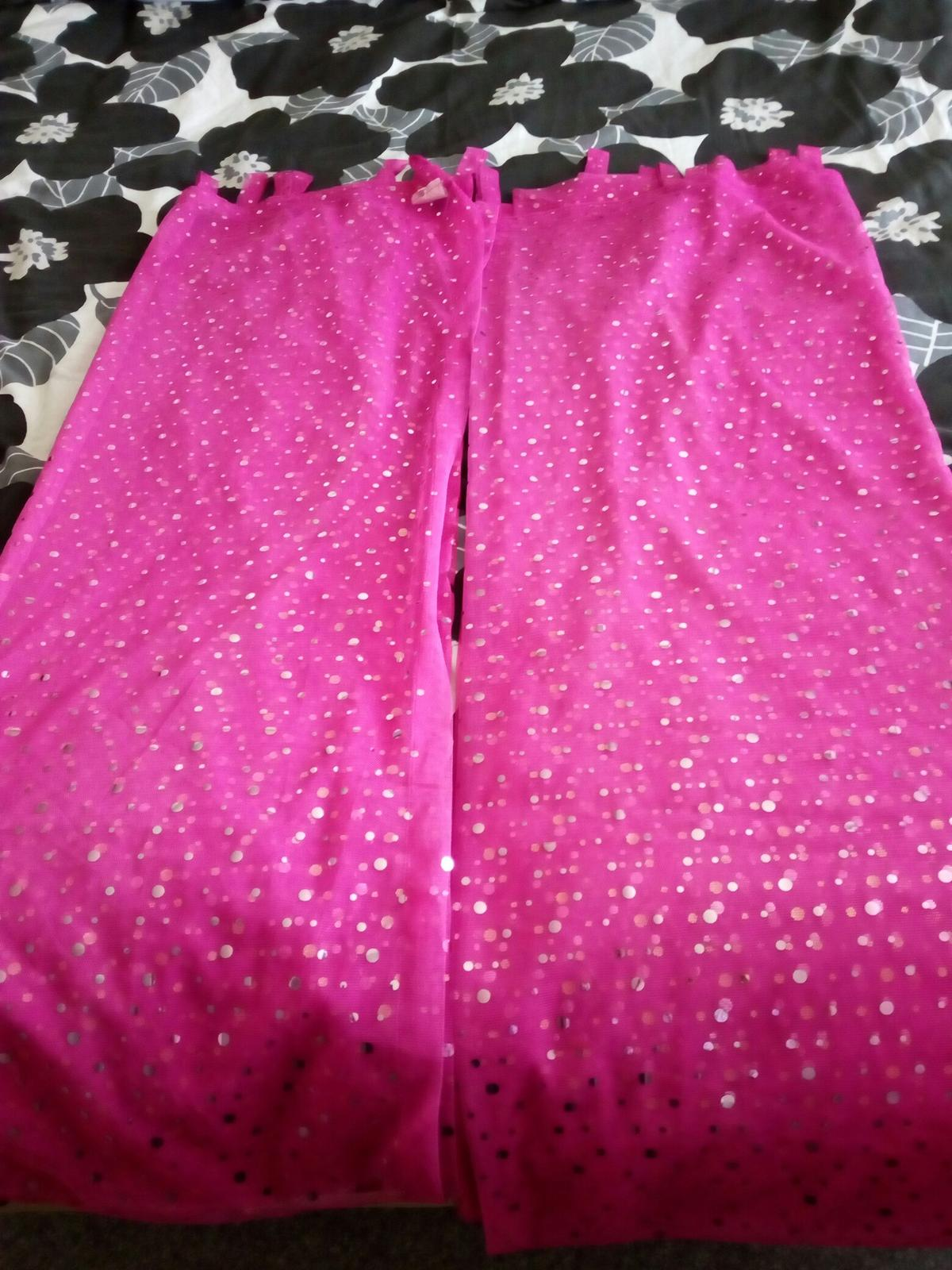 Pink Sequin Curtains Pink Sparkly Voile Curtains