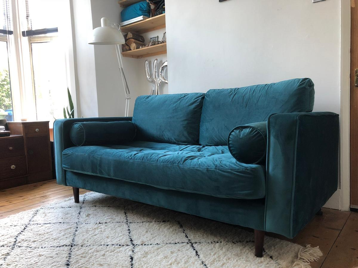 Made Sofa Velvet Made Scott Velvet Sofa In Petrol Blue In Se22 London For