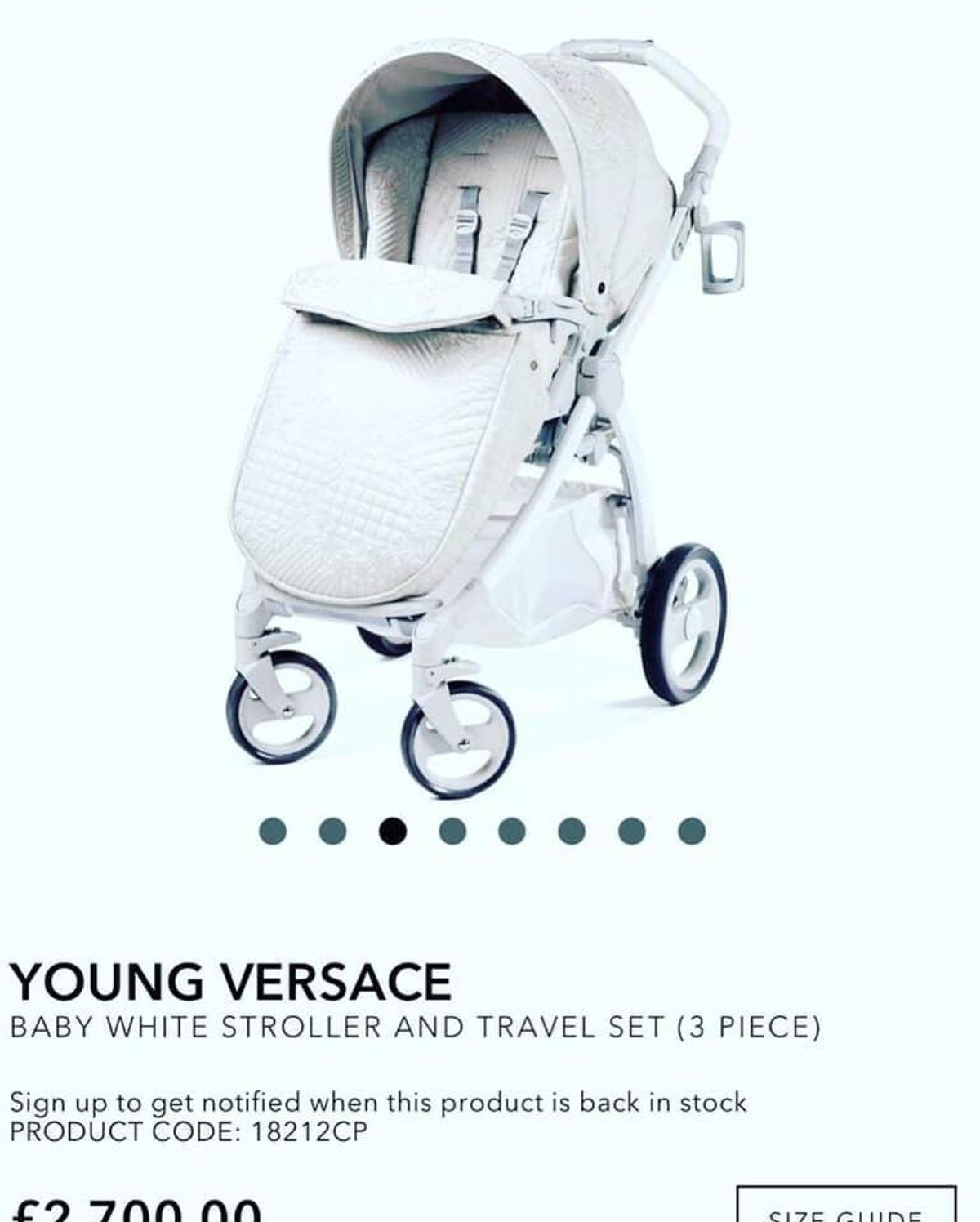 Young Versace Baby White Stroller And Travel Set Young Versace Travel Pram Set In Backford For 1 000 00 For