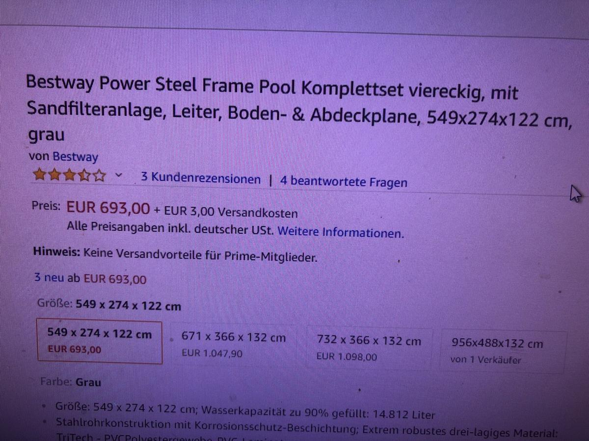 Pool Komplettset Amazon Bestway Power Steel Frame Pool 549x274x122 In 4050 Traun Für
