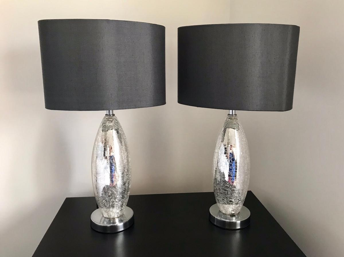 Glass Crackle Lamp Next Lights 2 Bedside Table Lamps