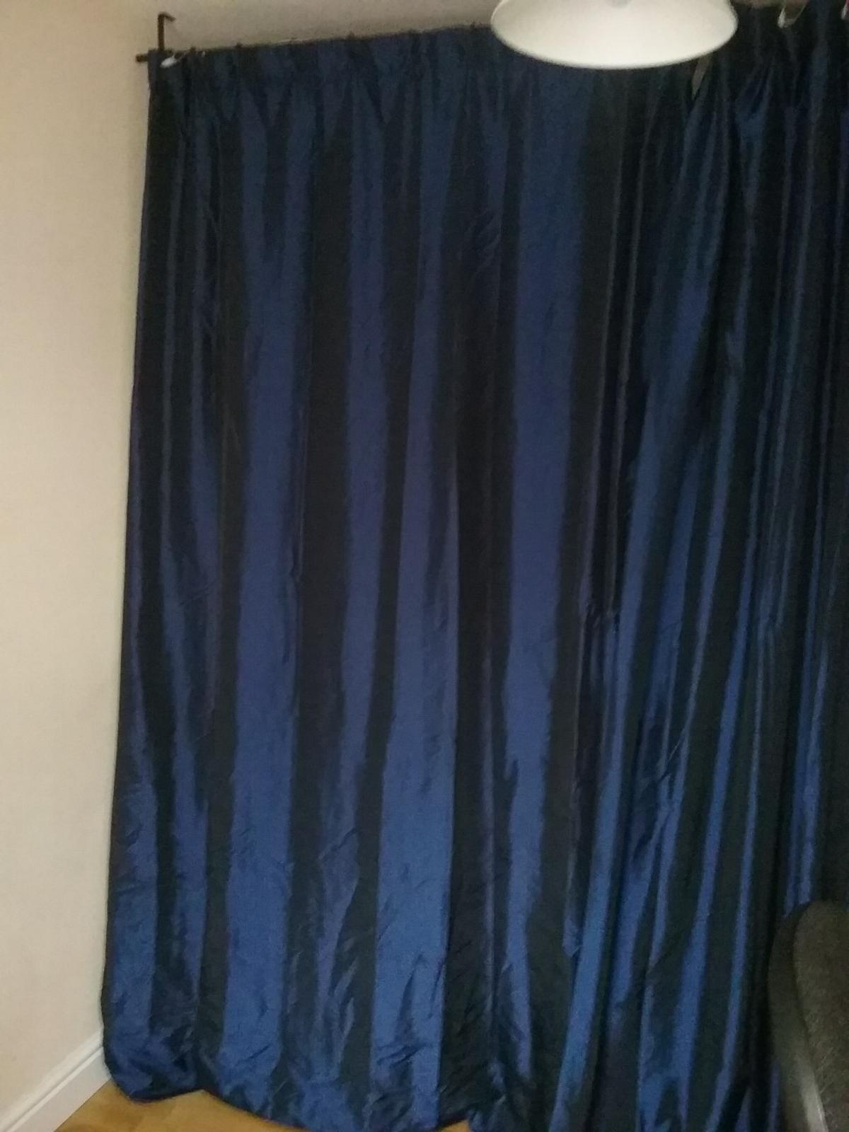 Black And Blue Curtains Midnight Blue Curtains And Black Metal Pole