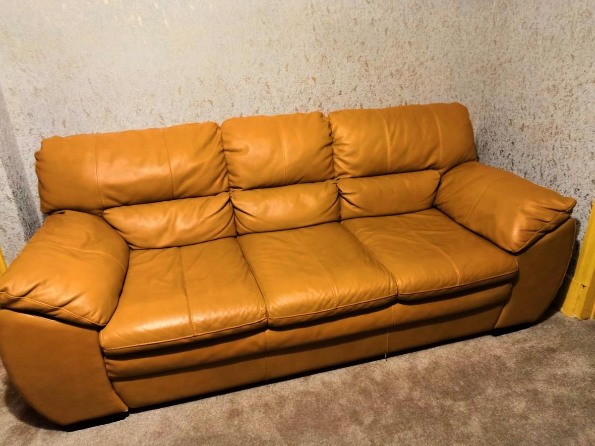 Dfs Tan Leather Sofa Suite In Calderdale For 500 00 For Sale Shpock