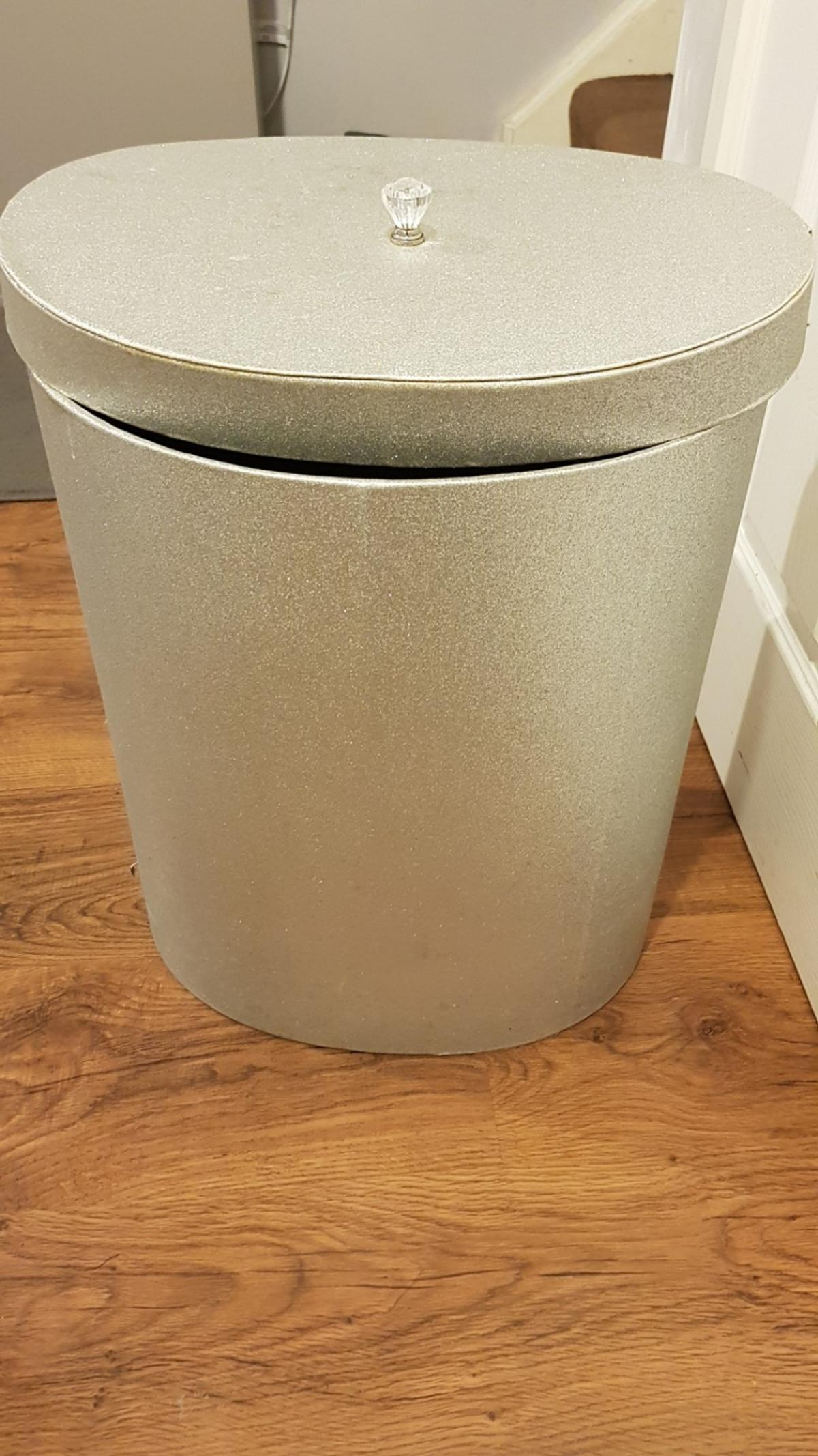 Metal Wash Bin Silver Glitter Laundry Bin Basket With Lid In B70 Sandwell For