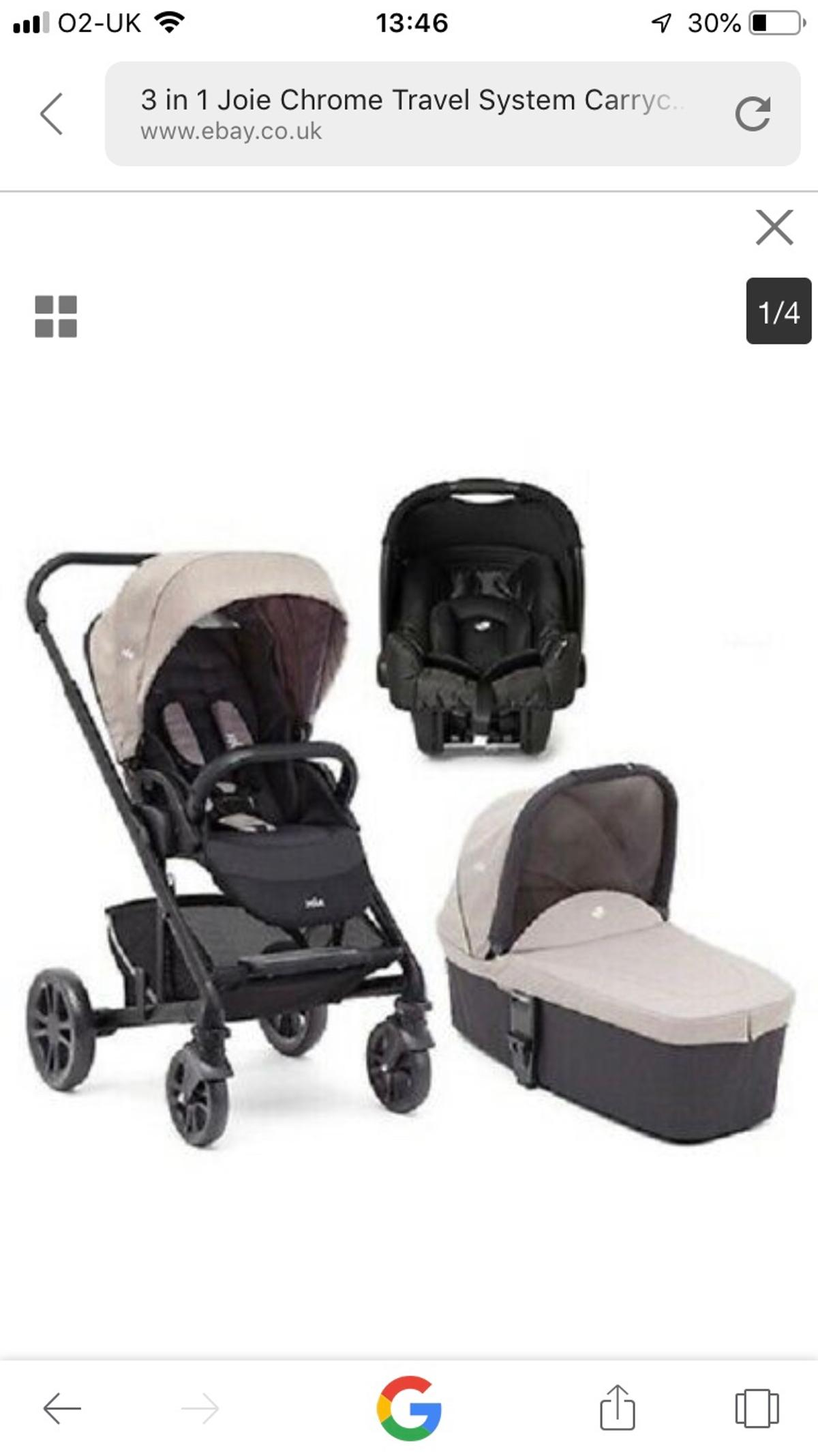 Joie Isofix Ebay Joie Chrome 3 In 1 Travel System In Chesterfield For 100 00