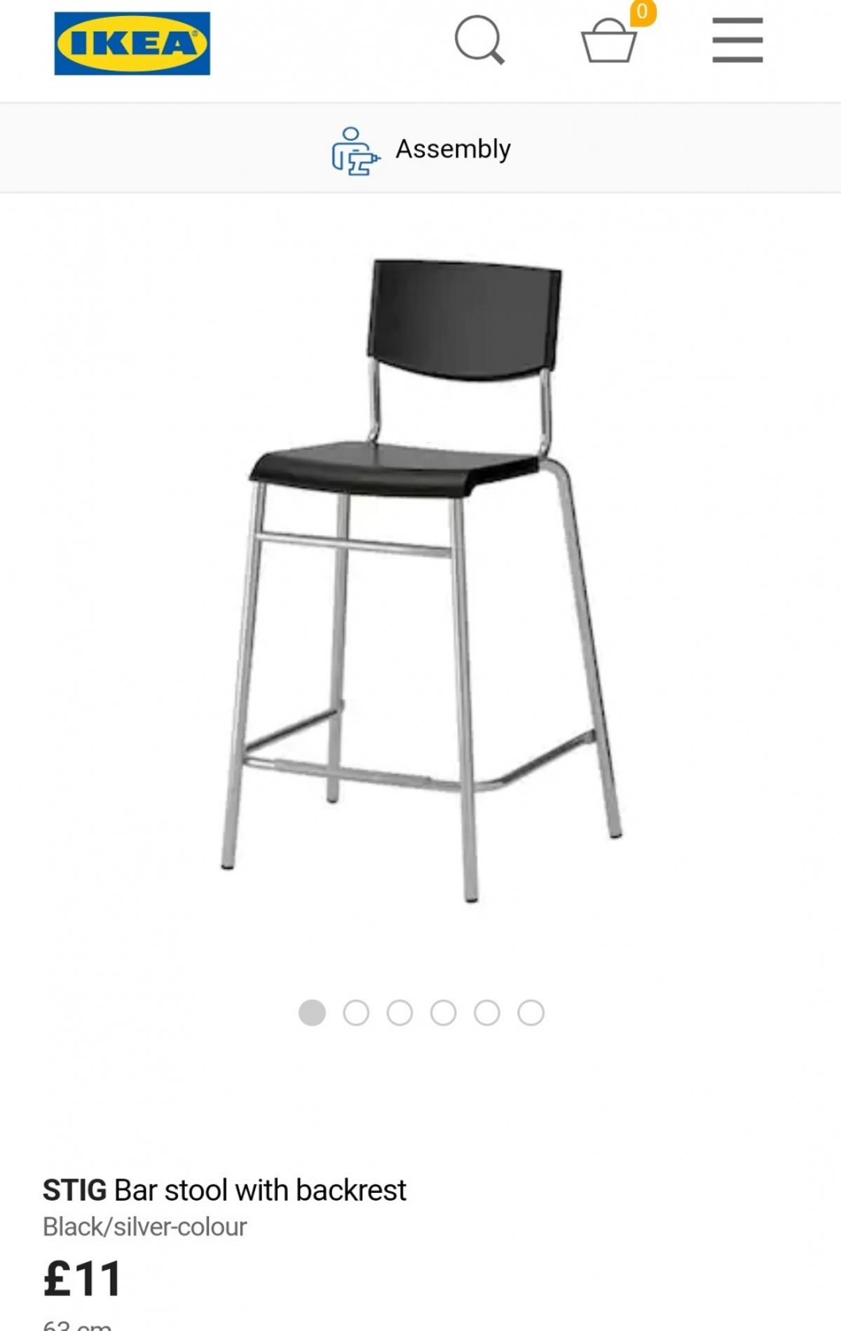 Ikea Bank Hotline Ikea Stig Barstool Black Silver Backrest 65cm In E15 London