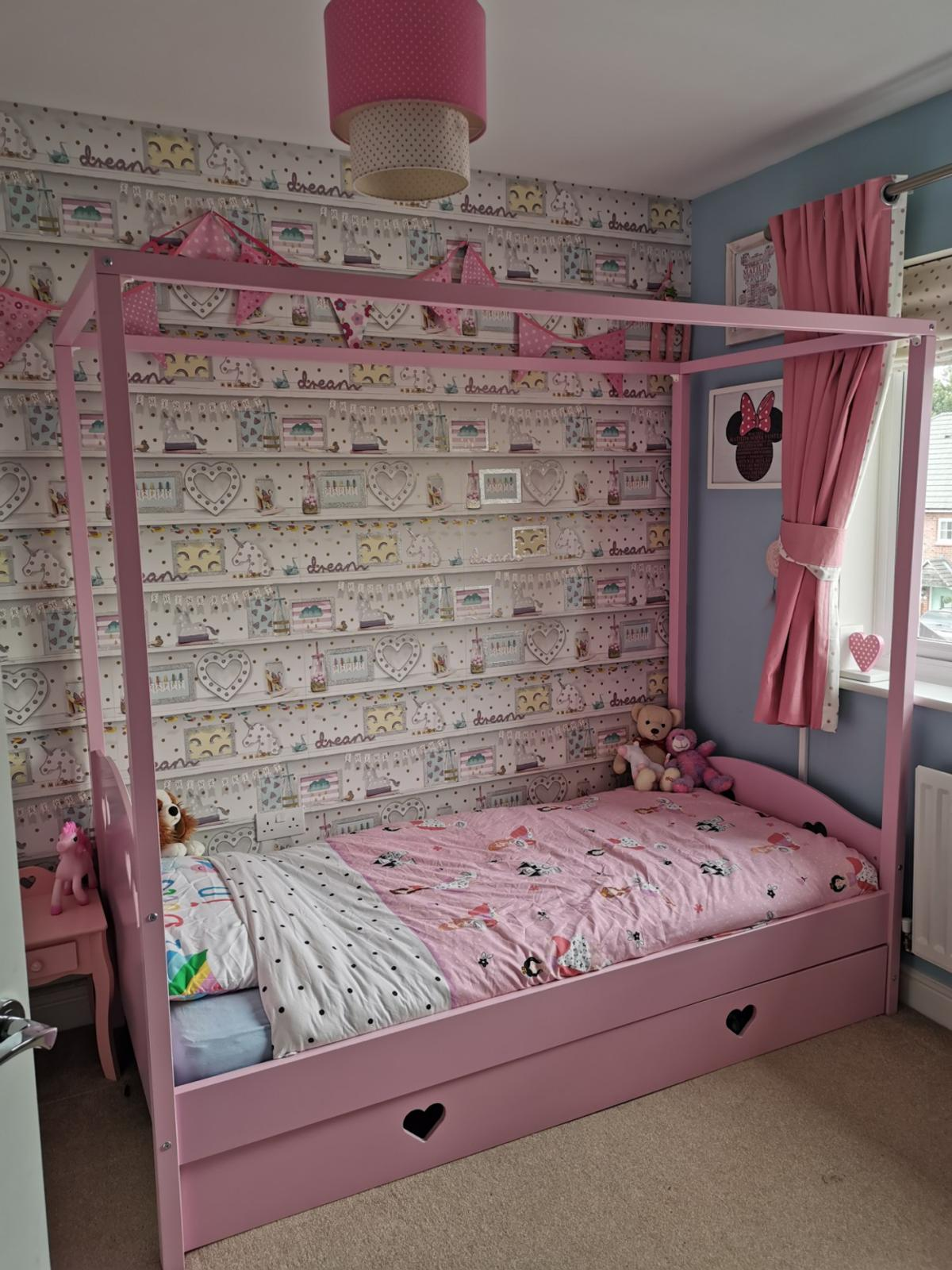 Single Four Poster Bed Mia Pink Single Girls Four Poster Bed