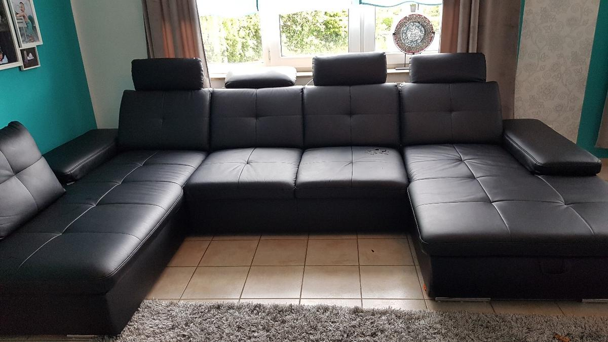 Ledercouch U Form Couch Schwarz Kunstleder Bettfunktion In 66989 Höheinöd For €200.00 For Sale | Shpock