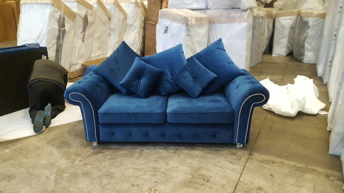 Blue Plush Sofa Set In Bb10 Burnley For 250 00 For Sale Shpock