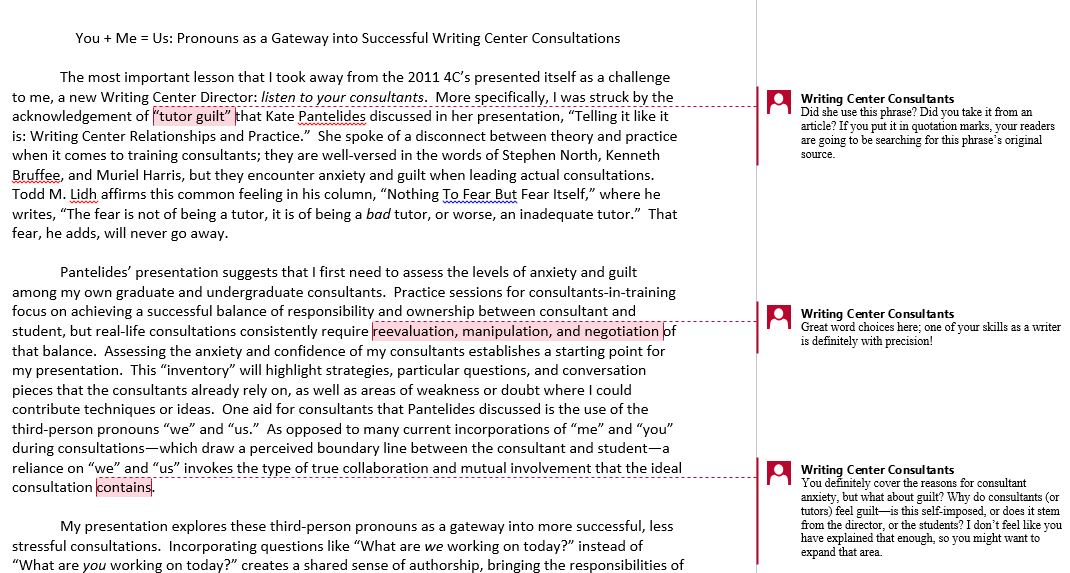 Feedback Requests Via Email/Microsoft Word \u2013 Writing Center