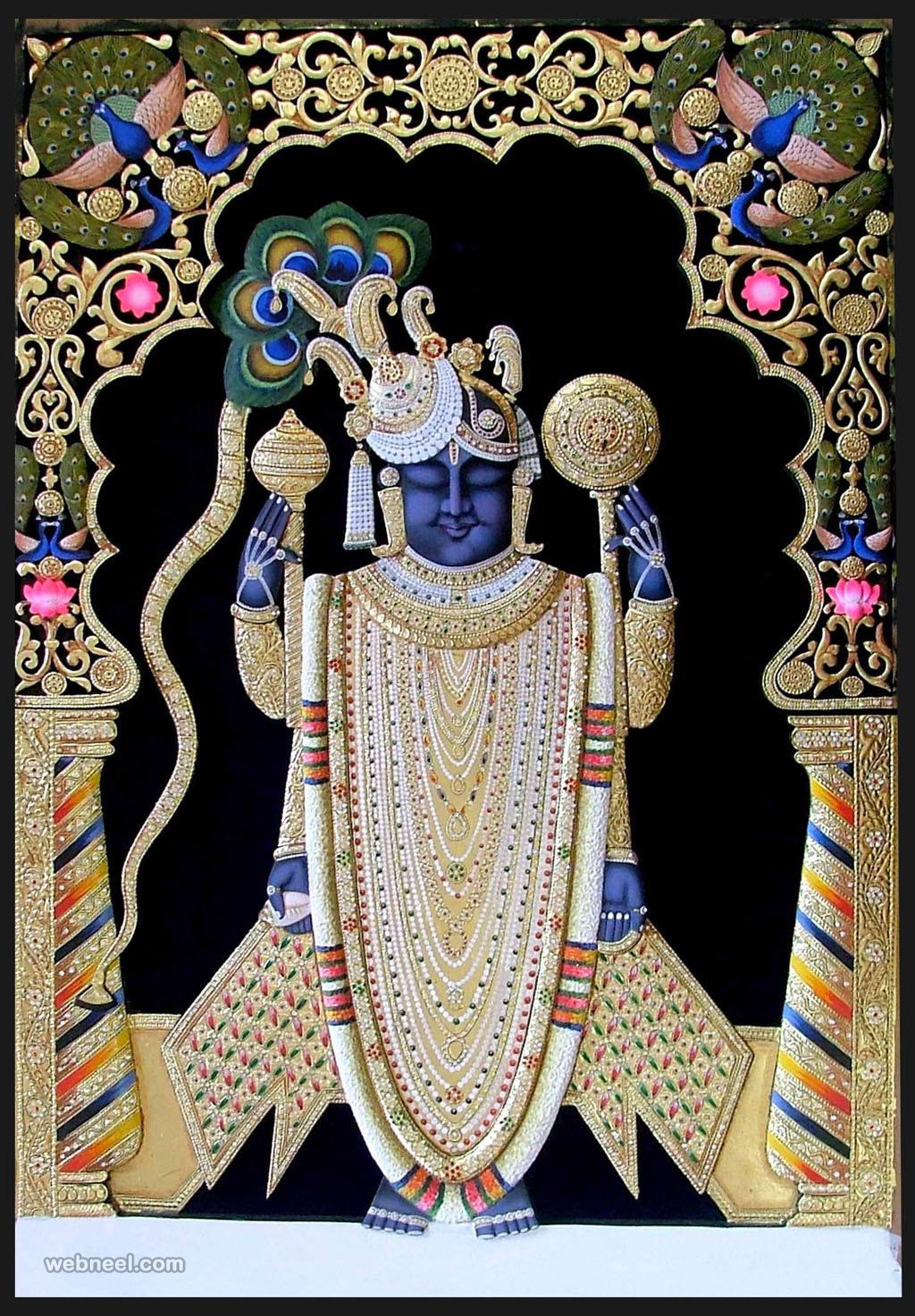 3d Wallpaper For Home Wall India Tanjore Painting Guruvayur Krishna 6