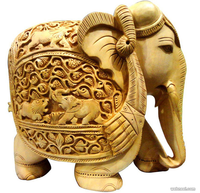 3d Wallpaper For Home Wall India Elephant Wood Carving Handicraft Rajasthan 6