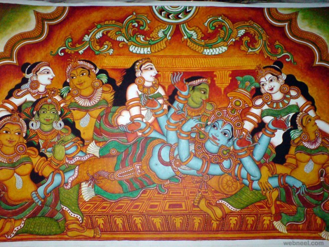 Lord Krishna With Gopis 3d Wallpaper 30 Beautiful Wall Mural Paintings For Your Inspiration