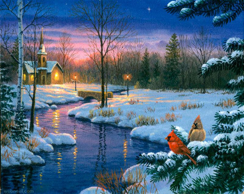 Thomas Kinkade Fall Wallpaper Christmas Paintings 19