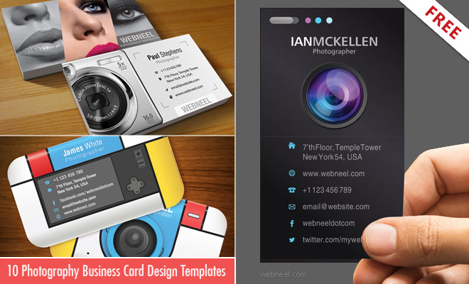 10 Business card design templates for Photographers - Download AI PSD - card templates for pographers