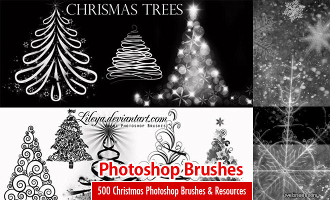 500 Christmas Photoshop Brushes and other Design Resources - Free