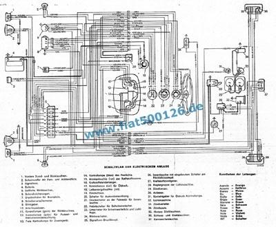 Connection diagram Fiat 126, copy A3 format - Fiat 500 126 600 spare