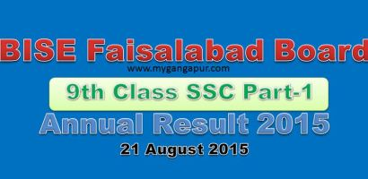 BISE Faisalabad Board 9th Class annual Exam Result 2015