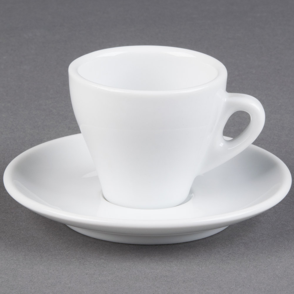 Espresso Coffee Cac E-3 Venice 3.5 Oz. White Espresso Cup With 4 7/8