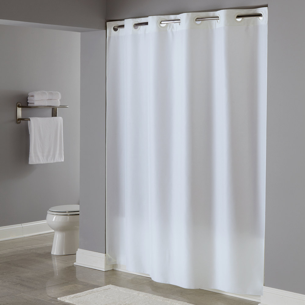 74 Shower Curtain Hookless Hbh40plw01 White Plainweave Shower Curtain With Matching Flat Flex On Rings And Weighted Corner Magnets 71