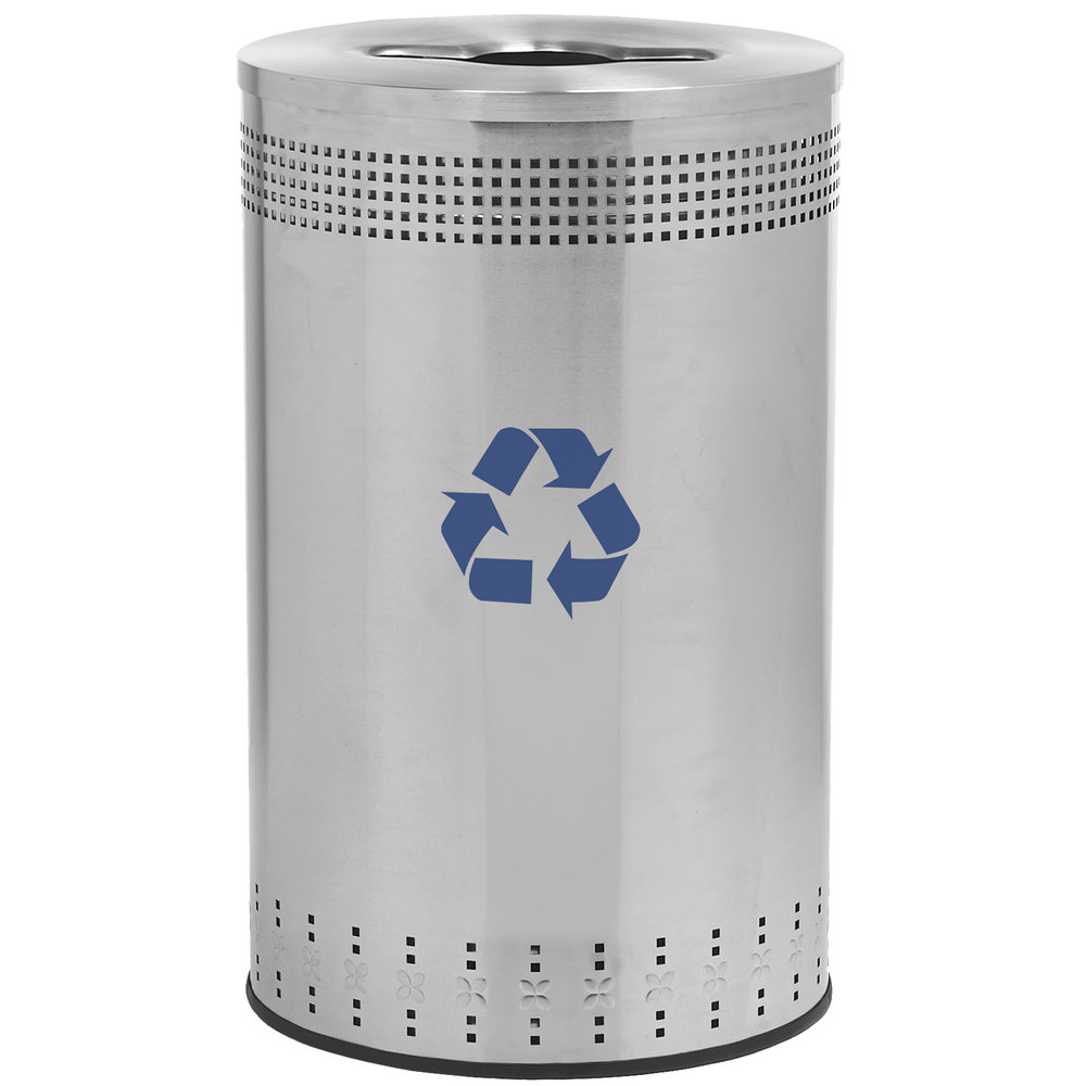 Stainless Steel Recycling Bins Commercial Zone 782729 Precision 45 Gallon Imprinted Stainless Steel Recycling Bin