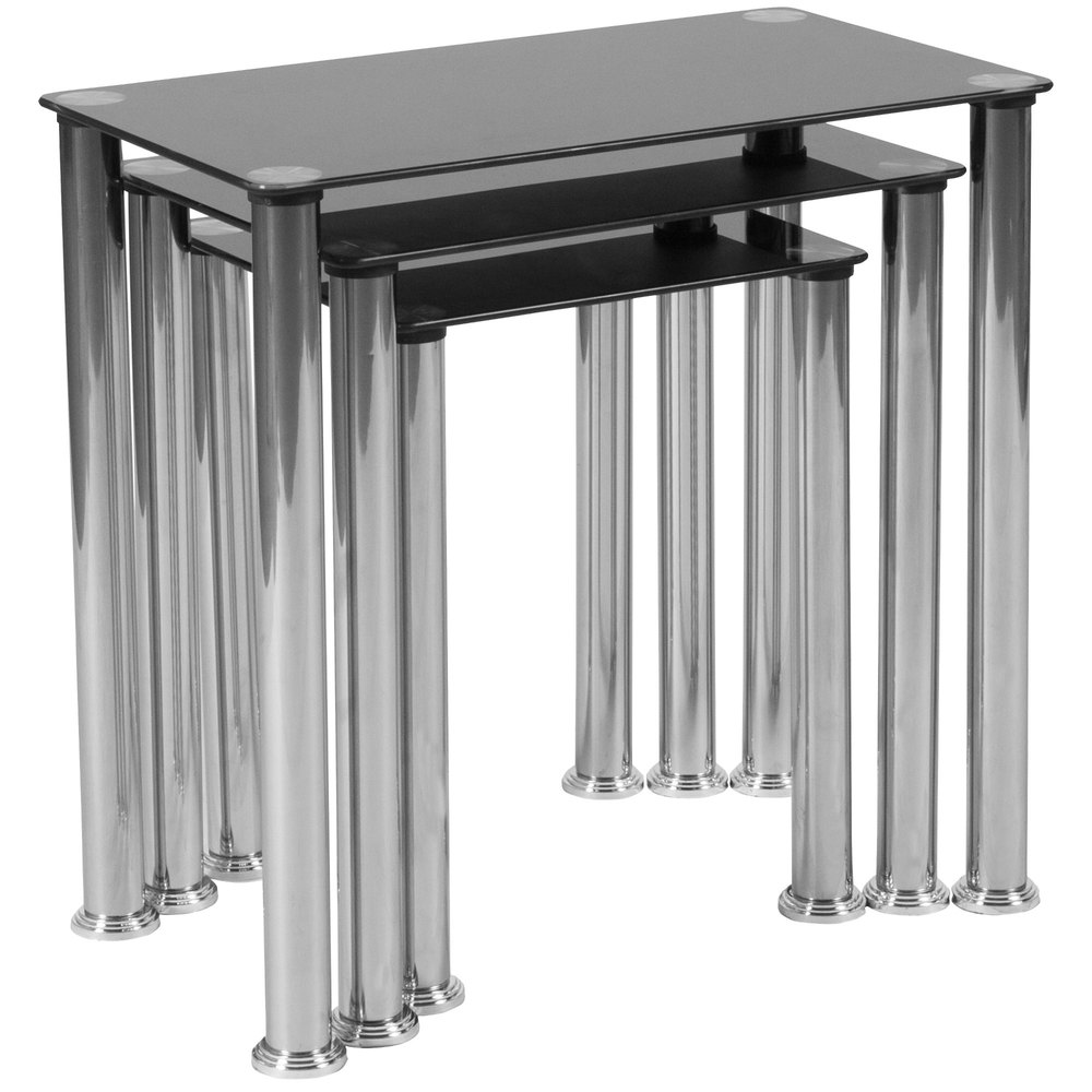 Glass Nesting Tables Flash Furniture Hg 112349 Gg 3 Piece Riverside Black Glass Nesting Tables With Stainless Steel Legs