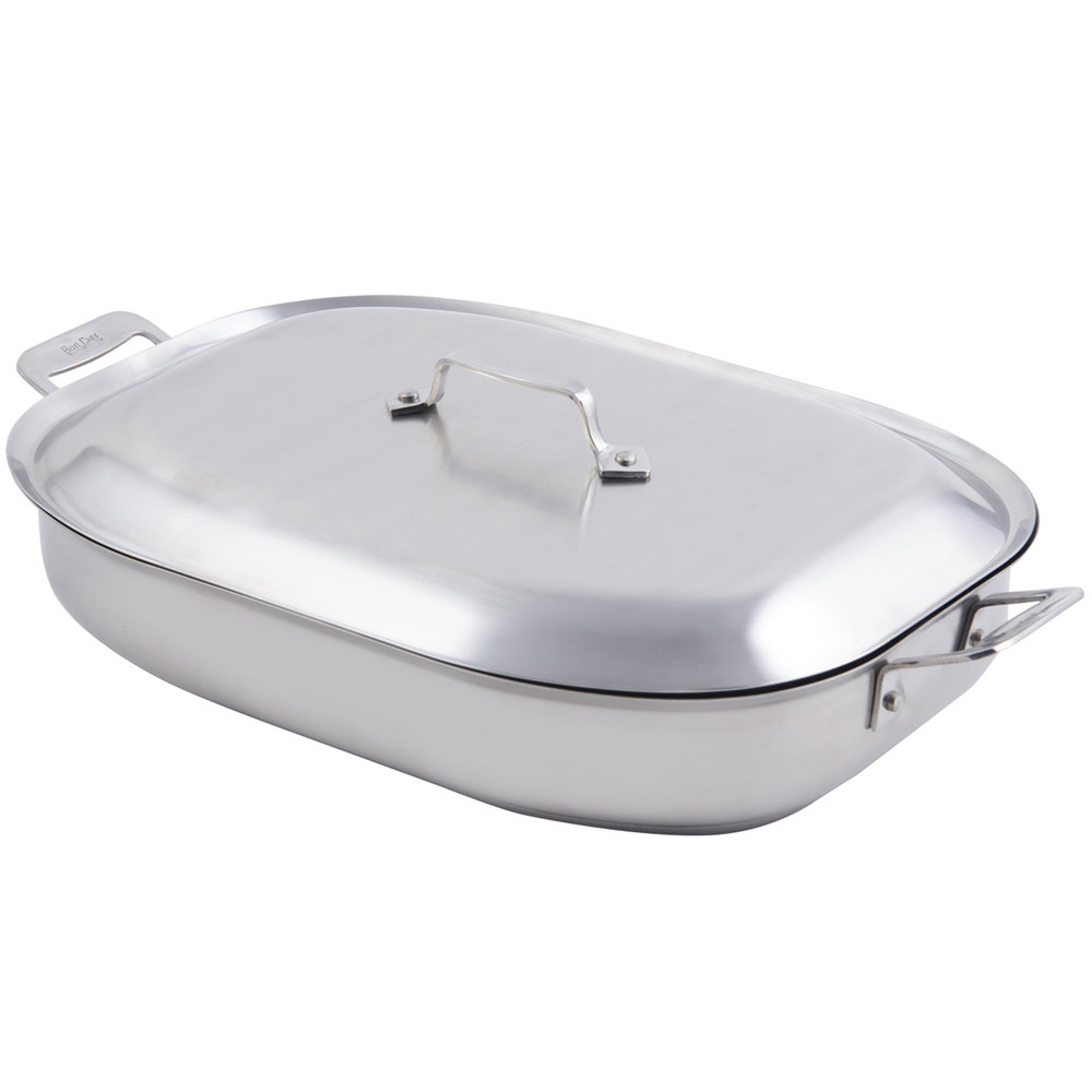 Cucina Wok Bon Chef 60023cld Cucina 5 Qt Stainless Steel Oblong Pan With Lid Handles And Induction Bottom 14 7 8