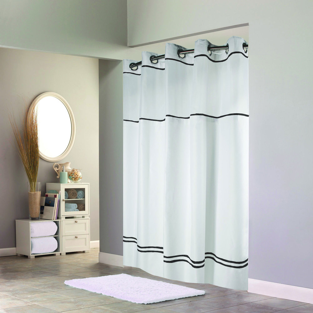 Black Voile Curtains Hookless Hbh40mys0110sl74 White With Black Stripe Escape Shower Curtain With Chrome Raised Flex On Rings It S A Snap Polyester Liner With Magnets