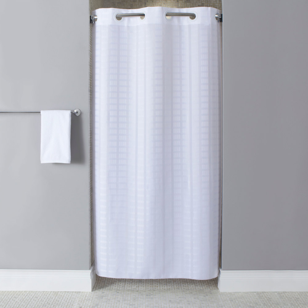 74 Shower Curtain Hookless Hbh43lit01sx White Stall Size Litchfield Shower Curtain With Matching Flat Flex On Rings And Weighted Corner Magnets 42