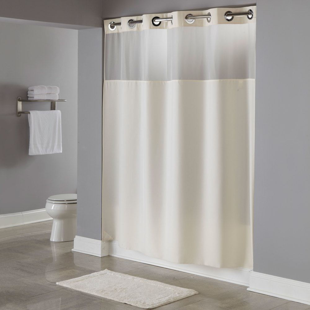 Air Curtain Shower Hookless Hbh49mys05sl77 Beige Illusion Shower Curtain With Chrome Raised Flex On Rings It S A Snap Polyester Liner With Magnets And Poly Voile