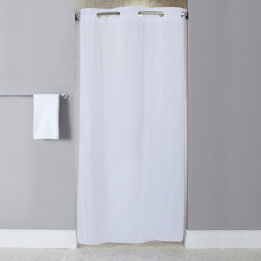 74 Shower Curtain Hookless Hbh10ga014274 White Stall Size 10 Gauge Vinyl Shower Curtain With Matching Flat Flex On Rings And Weighted Corner Magnets 42