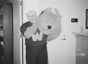 Photo Contributed by Webster Athletics Sue McClintock served a variety of roles in her time at Webster University Athletics. She even wore the Gorlok mascot costume on occasion.