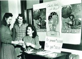 Webster University archives Webster College students sell war bonds during World War II.