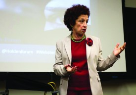 Iranian political science professor Tamineh Entessar discusses Iranian and middle eastern politics in the Emerson Library Conference Room on Wednesday, Nov. 5.