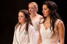 Caroline Amos, Sigrid Wise and Cherlynn Alvarez as the brides in Big Love. CONTRIBUTED PHOTO
