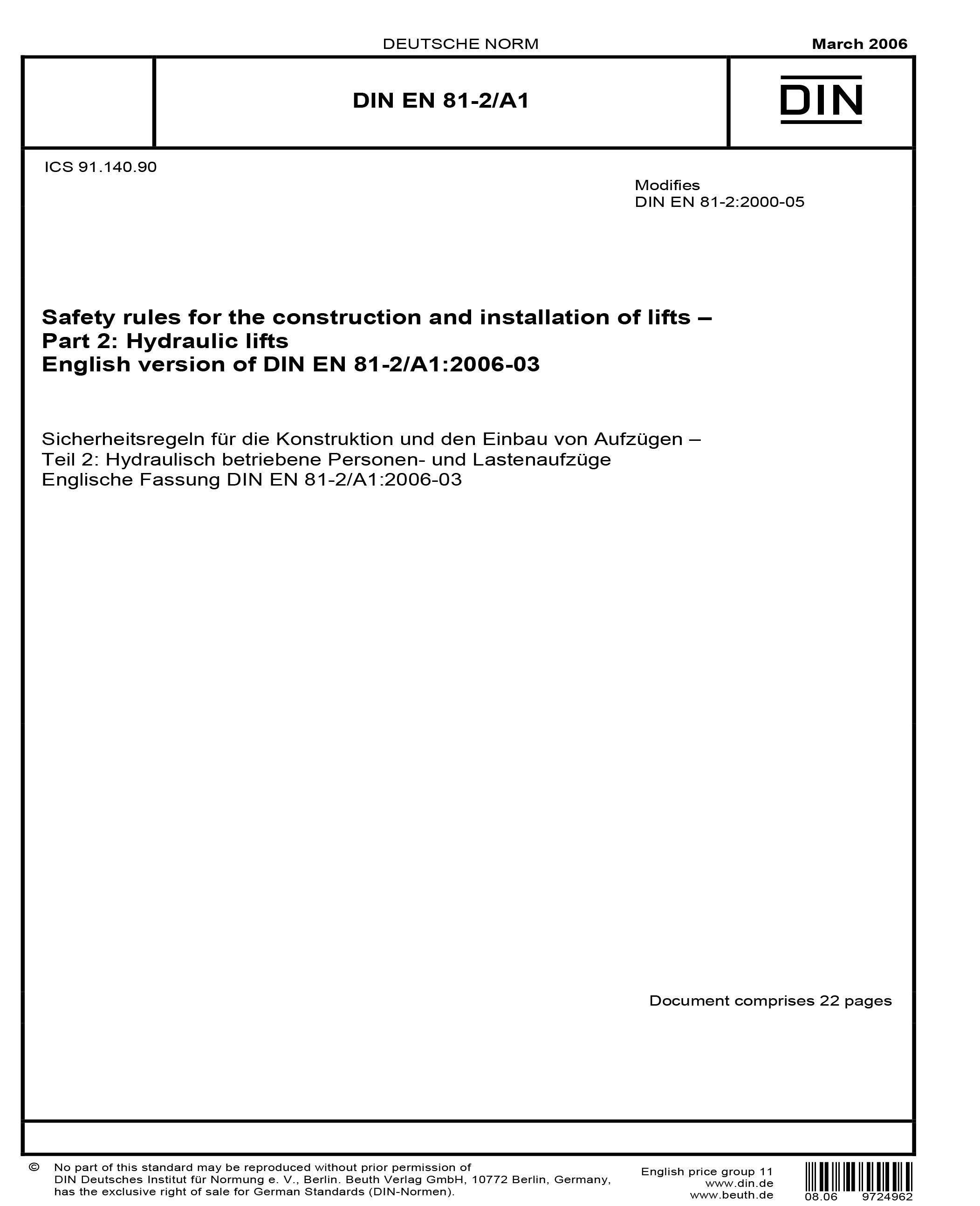 A A1 Din Din En 81 2 A1 2006 Safety Rules For The Construction And