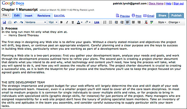 Types of Web Sites and Documents Web Style Guide 3 - examples of word documents